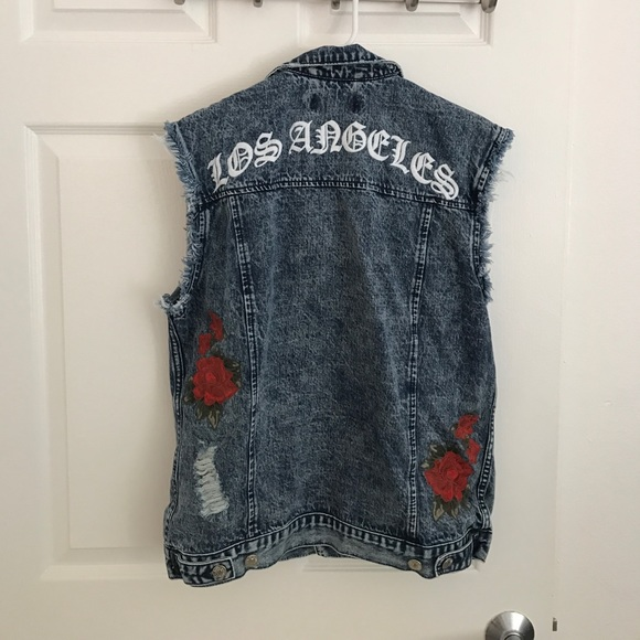Pacsun Jackets Coats Denim Vest With Rose Flower Embroidery Sm