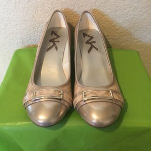 Anne Klein Sport Wedge Gold Metallic Reptile Shoes