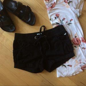 Dream Out Loud Pants - Black bubble hem jean shorts