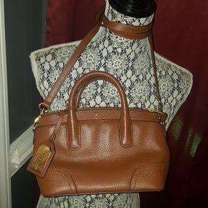 LAUREN RALPH LAUREN  Brown leather xbody satchel