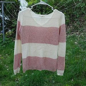 Pink Rose Sweaters - Striped Sweater