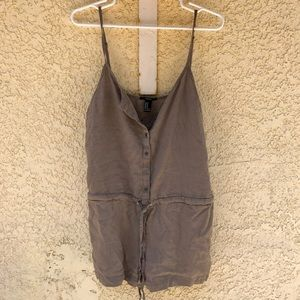 Brown romper with pockets and tie