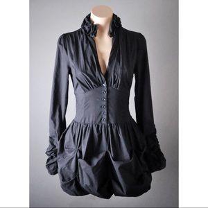 82d0968fb6 Black Steampunk Victorian Ruffle Blouse Top Shirt