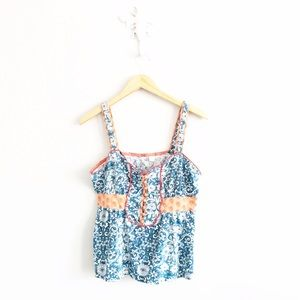 Anthropologie Tops - Anthropologie Blue & White Floral Knit Tank Top