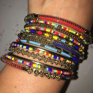 Jewelry - Metal bracelet bangle set. 16pcs. Multicolor 💋