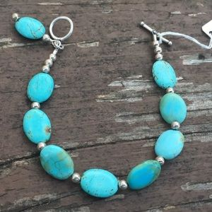 handmade Jewelry - Turquoise 925 Sterling Silver Bracelet Oval Dangle