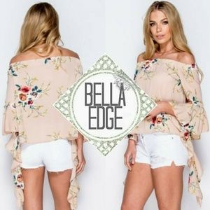 Bella Edge Tops - 🆕️ BRIGITTE Apricot Floral Bell Flare Sleeve Top