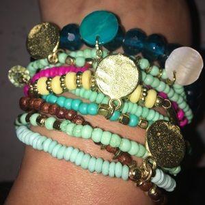 Jewelry - Bracelet set with charms. 10pcs. Stretch 🌺