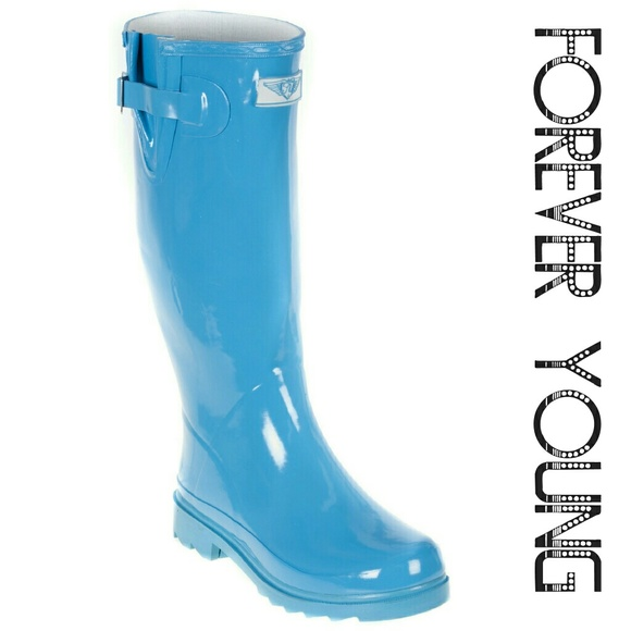 Forever Young Shoes - Women Tall Rain Boots, #3106, Turquoise