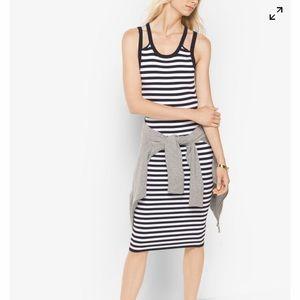 Michael Kors striped viscose/ nylon tank dress