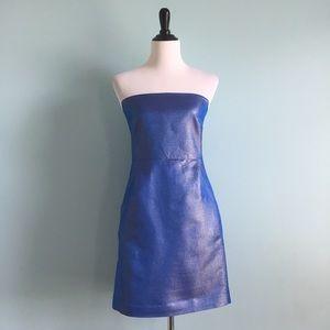 AKA New York Dresses & Skirts - Shiny Blue Strapless Dress