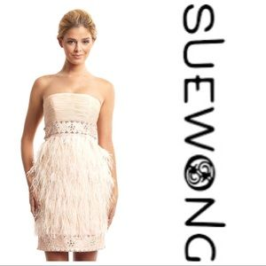 Sue Wong Dresses & Skirts - NWT Sue Wong Strapless Jeweled Ostrich Feather