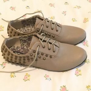 Refresh Shoes - Taupe Studded Oxfords (New!)