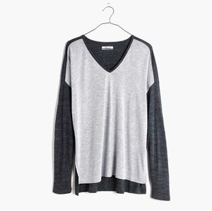 EUC Madewell Anthem Color Block V Neck Tee