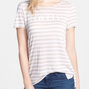 NWT Halogen tan/ivory striped petite top