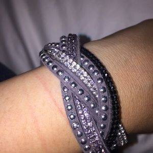 Jewelry - Gray Crystal and Stud Suede Wrap Bracelet