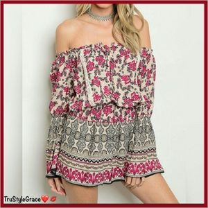 Pants - Just 1 Left❣️Floral Off Shoulder Boho Chic Romper