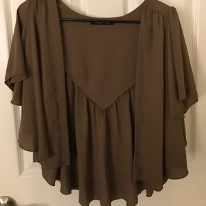 Foreign Exchange Sweaters - Beautiful brown short sleeved cover up size S