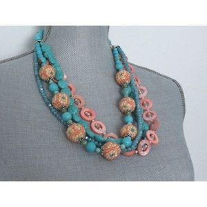 handmade Jewelry - Turquoise Necklace Peach Shell Crystals Floral