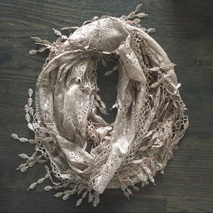 Accessories - Gold Intricate Lace/Crochet Scarf