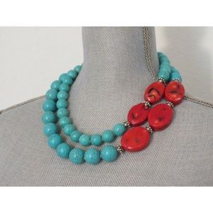 handmade Jewelry - Asymmetric Coral Turquoise Necklace Earring Set