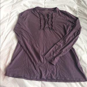 purple j. jill ruffle front henley size XS