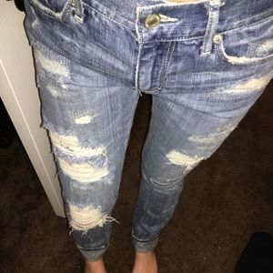 Abercrombie medium wash extreme ripped jeans
