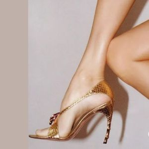 Gucci Shoes - Gucci Gold Python Rose Gold Tipped Heels 8