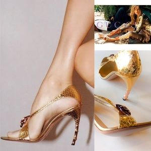 Gucci Gold Python Rose Gold Tom Ford Tipped Heels
