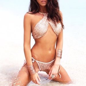 clmayfae Other - *LAST2* Rose Gold Sequin Wrap Bikini