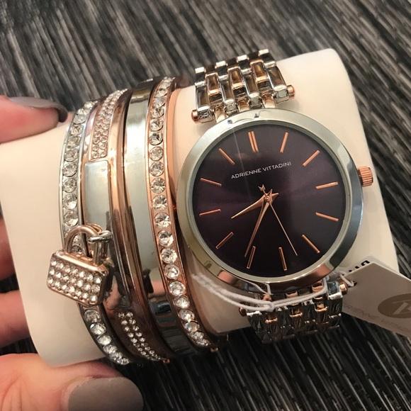 Adrienne Vittadini Accessories Twotone Watch Bracelet Set Poshmark