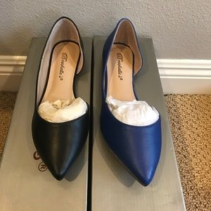 Blue And Black Cut Out Flats Sandals Slip Ons
