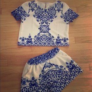 Sheinside Tops - Sheinside Porcelain shirt/short set