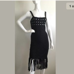 Jovani Dresses & Skirts - Jovani Black Woven and Fringe Detailed Dress