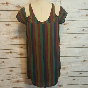 Urban Outfitters Dresses & Skirts - Silence & Noise striped cold-shoulder shift dress