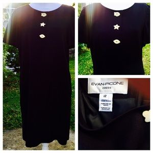 Evan Picone black dress with cute buttons size 12