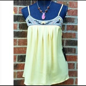 NEW LOVE STITCH Medium Yellow Embroidered Tank Top