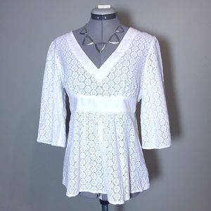 INC International Concepts Tops - INC White Eyelet Lace Boho Top wit Tie Waist