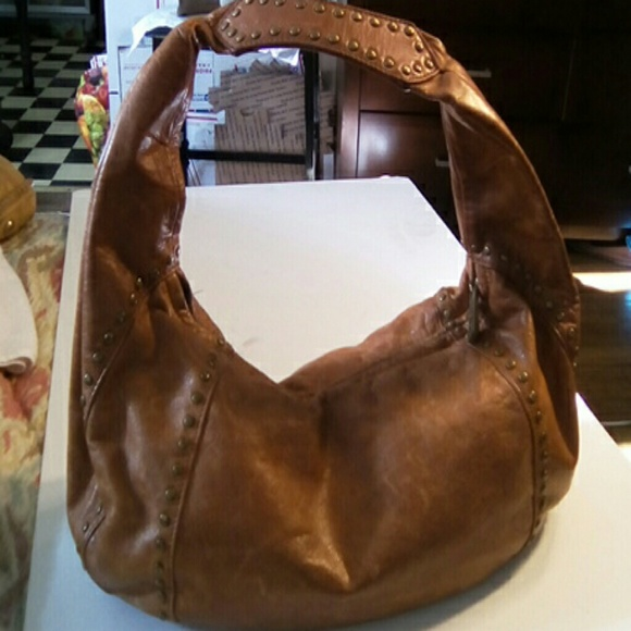 a05322d13c Kooba Handbags - KOOBA CAMEL LEATHER HOBO BAG STUDDED