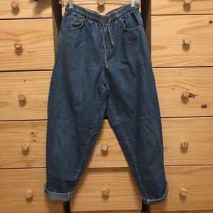 Vintage Drawstring Waistband Boyfriend Jeans