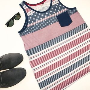 Univibe Other - Univibe Red White & Blue Stripes & Stars Tank