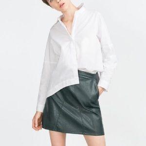 Zara hunter green faux leather skirt size L
