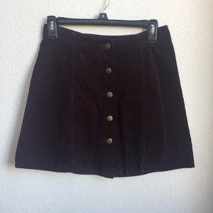 Maroon A-Line Corduroy Skirt