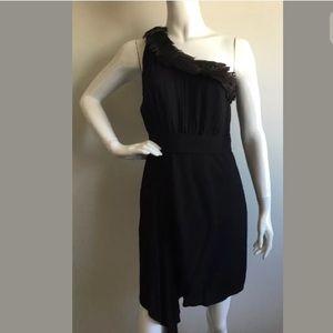 Black Halo Dresses & Skirts - Black Halo Black One-shoulder Dress w/Feathers