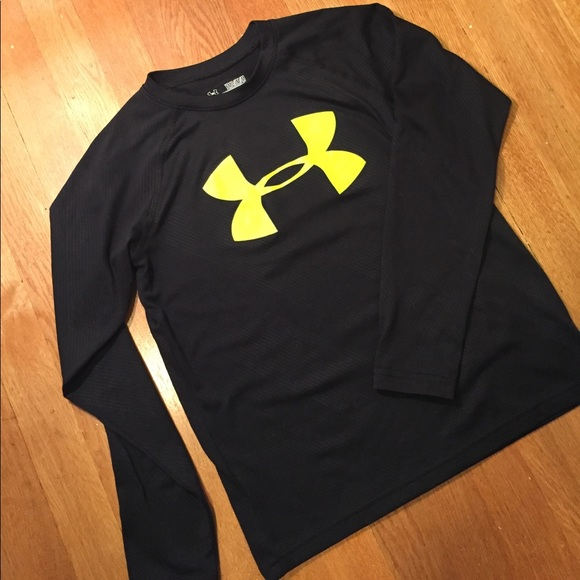 Under armour under armour black yellow long sleeve shirt for Yellow under armour long sleeve shirt