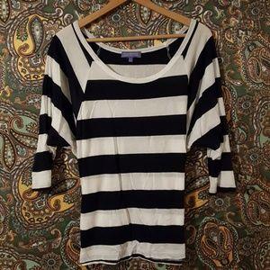 Vivienne Tam Tops - Vivienne Tam Navy Striped 3/4 Sleeve Top