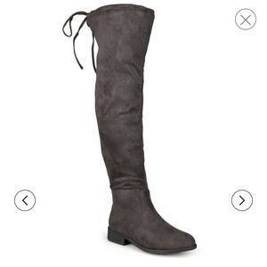 Journee Collection Shoes - REDUCED&NEW Journee Over the Knee Grey Suede Boots