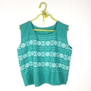 Vintage Boho Turquoise Embroidered Crop Top