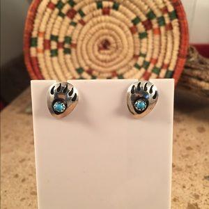 Navajo Turquoise & Sterling Bear Paw Post Earrings