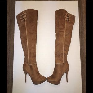 Wild Diva Shoes - New Wild Diva tan suede thigh high heeled boots